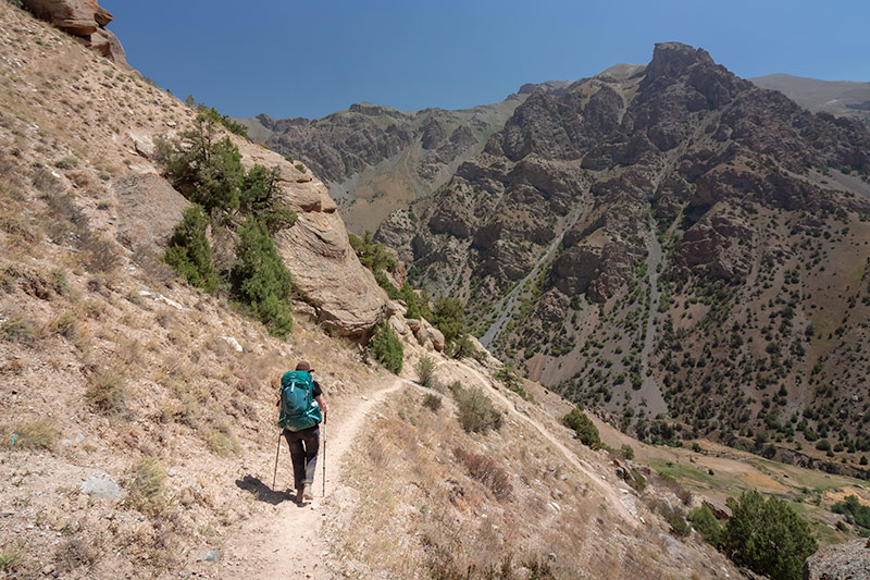 Independent Trekking In The Fann Mountains, Tajikistan: Haft Kul to Alauddin - Kim approaching the narrow path down to the Sarymat River