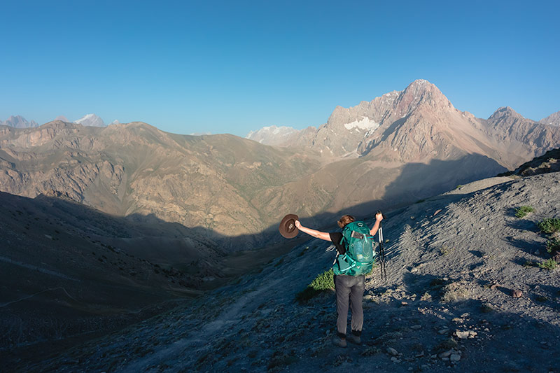 Independent Trekking In The Fann Mountains, Tajikistan: Haft Kul to Alauddin - Kim, happy to be at Tavasang Pass