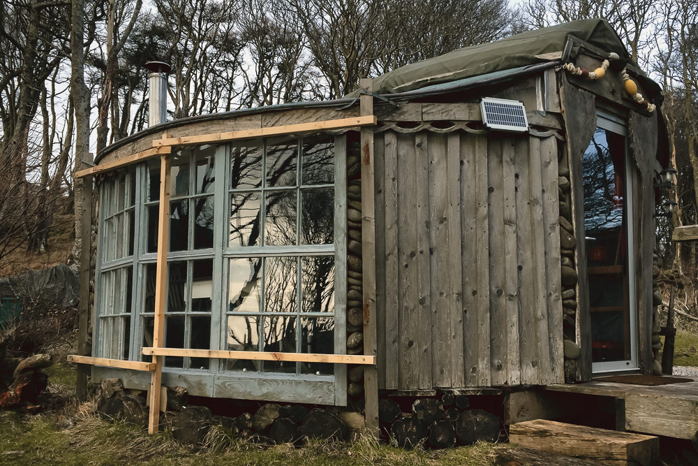 An eco glamping hut in the woods near Calgary Bay on the Isle of Mull.