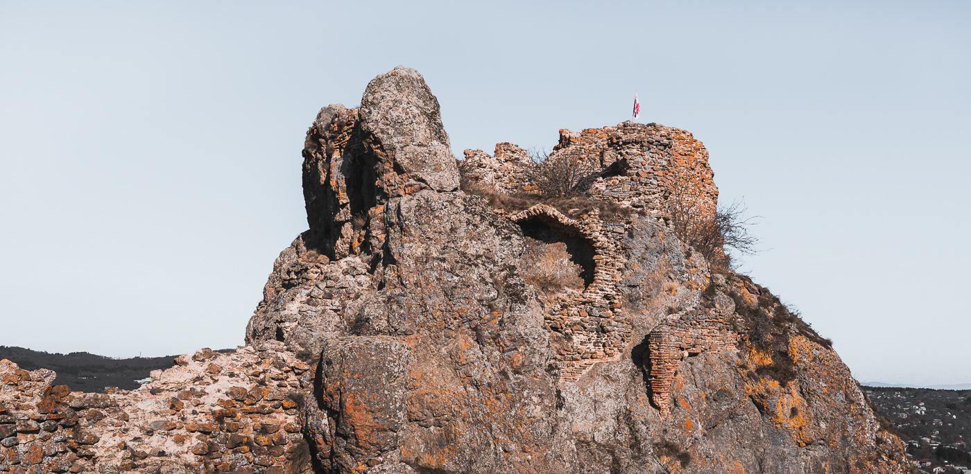 The crumbled ruins of Kojori Fortress sat atop a rocky outcrop