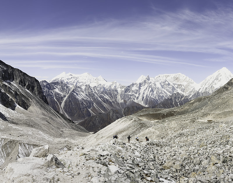 A view down from Larke Pass on the Manaslu Circuit, towards the Annapurna Range