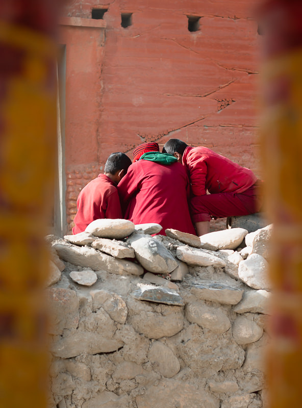 A group of young monks checking out something interesting on their phone on the streets of Lo Manthang.