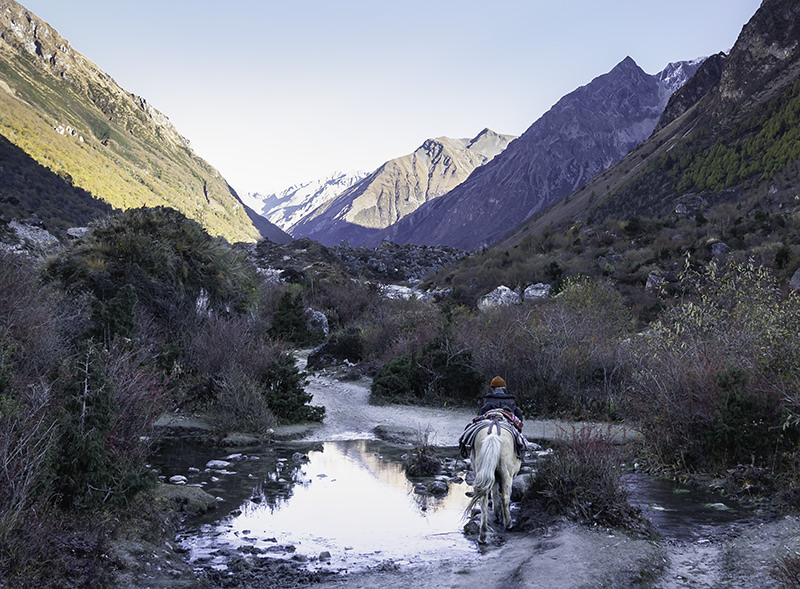 A local man riding the icy track from Samagaun to Samdo on the Manaslu Circuit, with the morning sun hitting the tops of the mountains