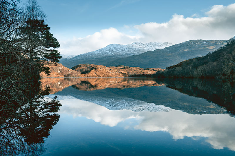 Still reflections on Loch Dubh, close to the road on the walk in to Peanmeanach