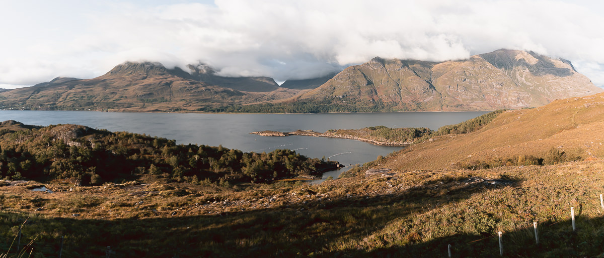 Looking across Loch Torridon towards the mountains in the late afternoon golden light.