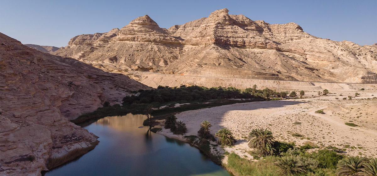 Looking down on Wadi Suneik. You can see the road snaking round the mountain at the back of the shot