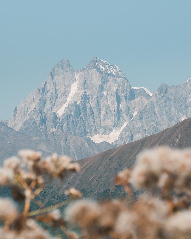 The twin peaks of Ushba and Chatyn-Tau, seen from the trail on Day 2 of the Mestia to Ushguli trek in Svaneti, Georgia