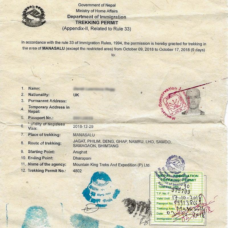 Manaslu Restricted Area Permit (RAP)