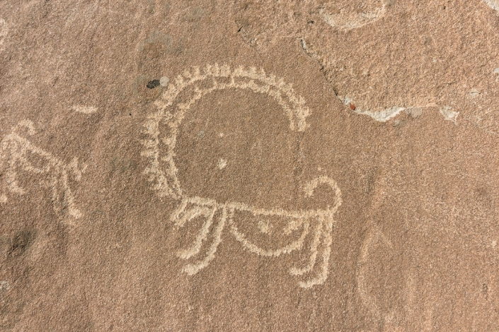 A petroglyph of a Marco Polo (argali) sheep, carved into bare rock on the slopes above Langar in the Wakhan Valley in Tajikistan