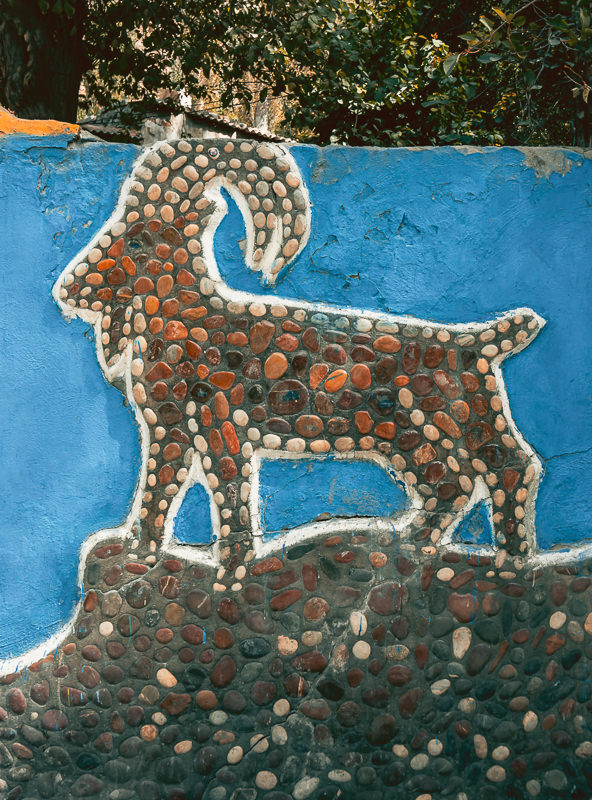 Marco Polo Sheep pebble design, the artwork adorning the wall of a well near Rushan on the Pamir Highway in Tajikistan