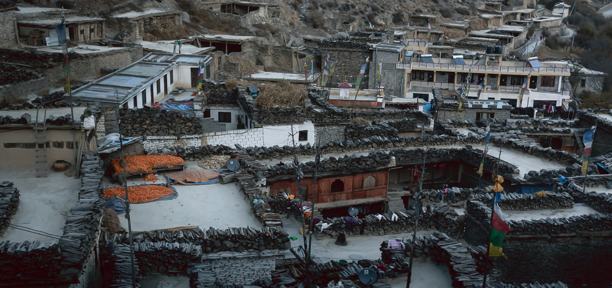 Looking down over the rooftops and inner courtyards of homes in Marpha