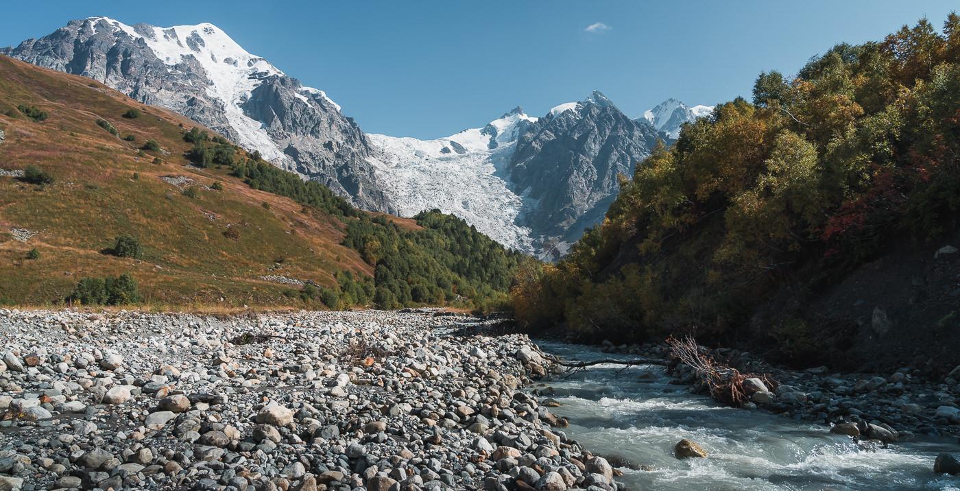 A good place to ford the Adishchala river on the Mestia to Ushguli trek in Svaneti, Georgia