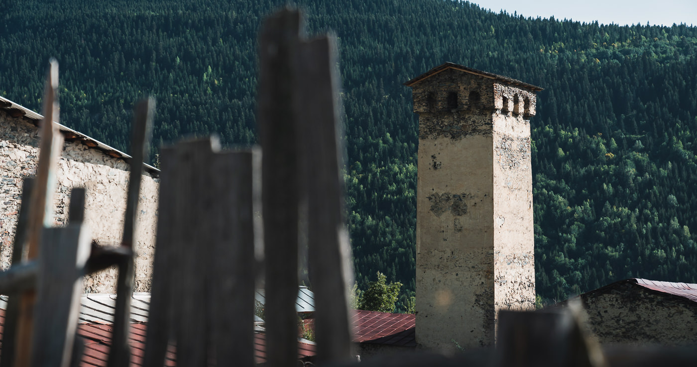 A traditonal Svan tower in Cholashi on the Mestia to Ushguli trail