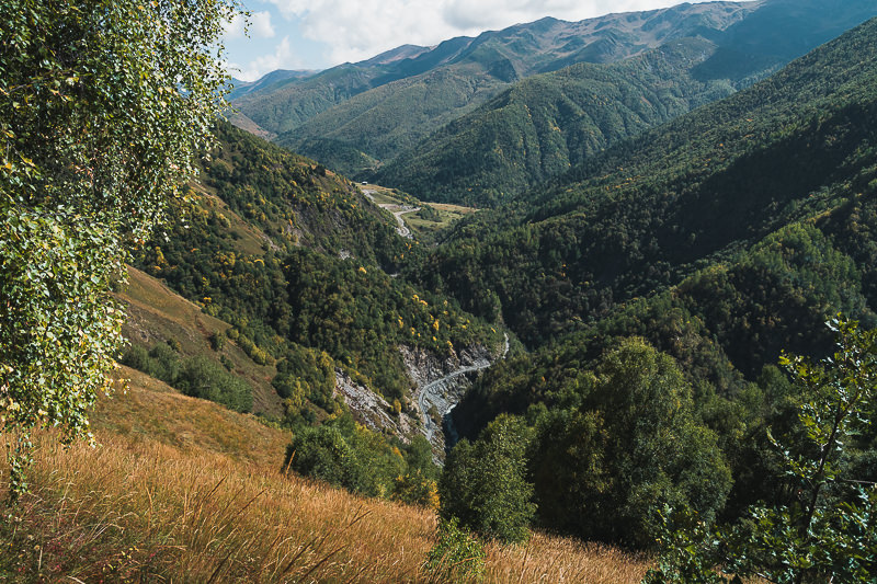 A view of the Mestia to Ushguli road from the hiking trail above
