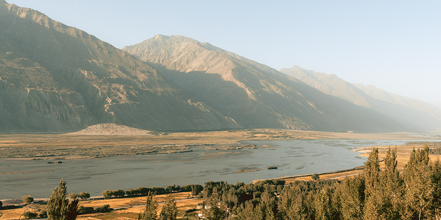 A view of the Panj River and Wakhan Valley