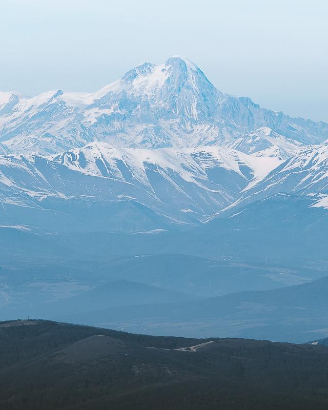A view of Mount Kazbek from the Kojori to Tbilisi hiking trail