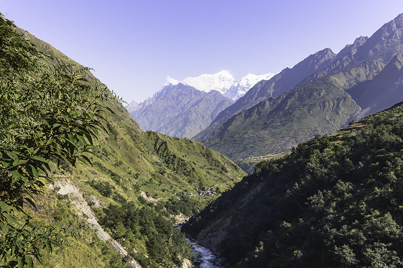 Sunshine and morning mountain views just past Jagat on the Manaslu Circuit in Nepal