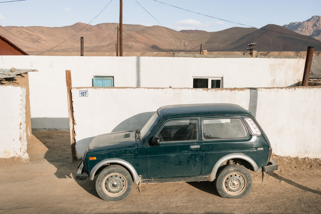 An old Russian vehicle parked on the dusty streets of Murghab in Eastern Tajikistan.
