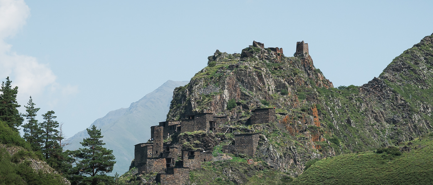 The historic Khevsur settlement of Mutso, perched on a rocky outcrop high above the Khonistskali at the start of the Shatili to Omalo trek in Georgia