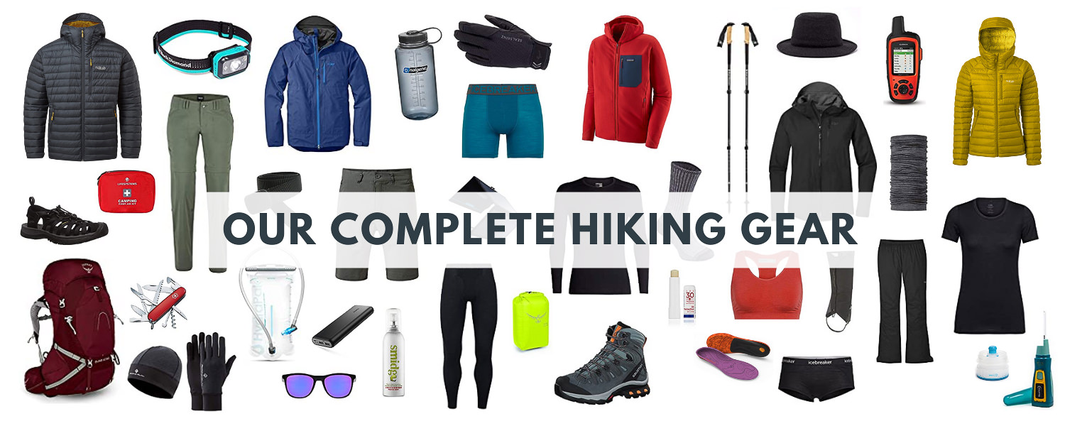 Header image featuring all items for complete hiking gear blog post