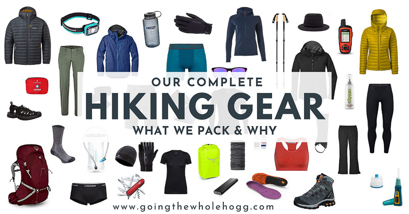 Link image featuring all items for complete hiking gear blog post
