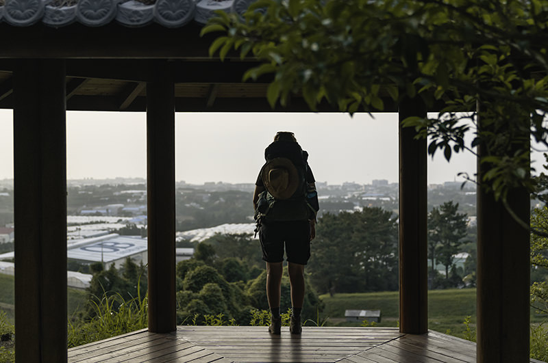 A person standing in a resting pagoda looking out over farmland down towards the coast on Jeju