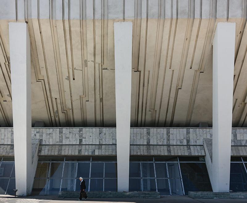 The Soviet era Palace of Sports building in Bishkek
