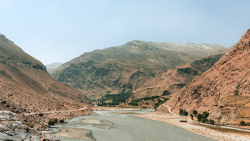 A view of the Panj River, Afghanistan on the left and Tajikistan on the right