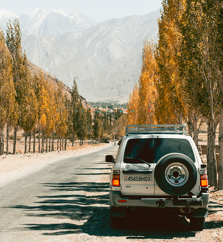 A white Toyota Landcruiser sitting in the shade of tall yellow poplar trees lining a straight road, with snowy mountain peaks ahead