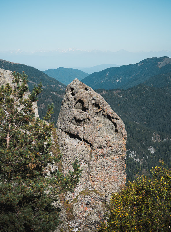 A big standalone rock thrusting up from the cliffs below Sakekela peak on Day 2 of the Panorama Trail in Borjomi-Kharagauli National Park