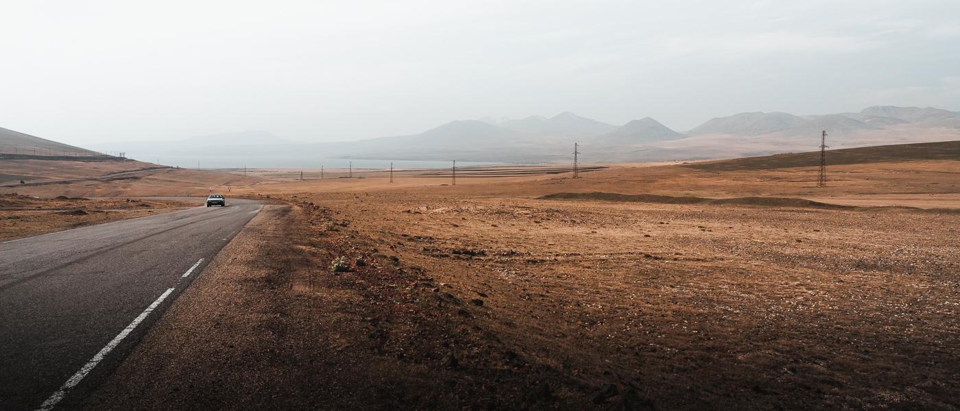 A view of Paravani Lake and the Javakheti Plateau from Tikmatashi Pass ( 2168 m)