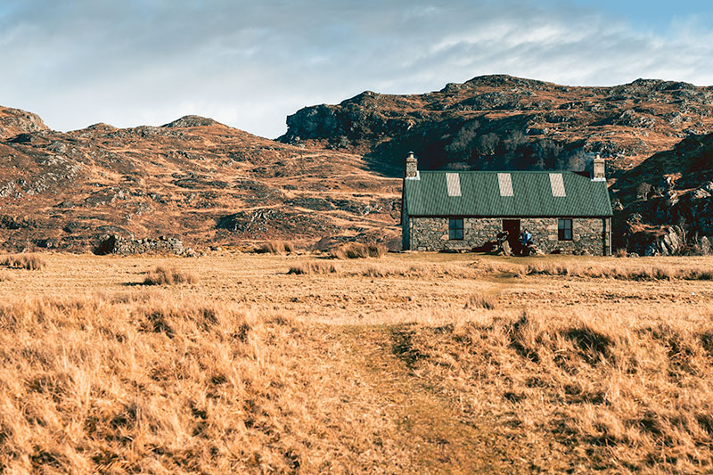 Peanmeanach Bothy on the Ardnish Peninsula in February
