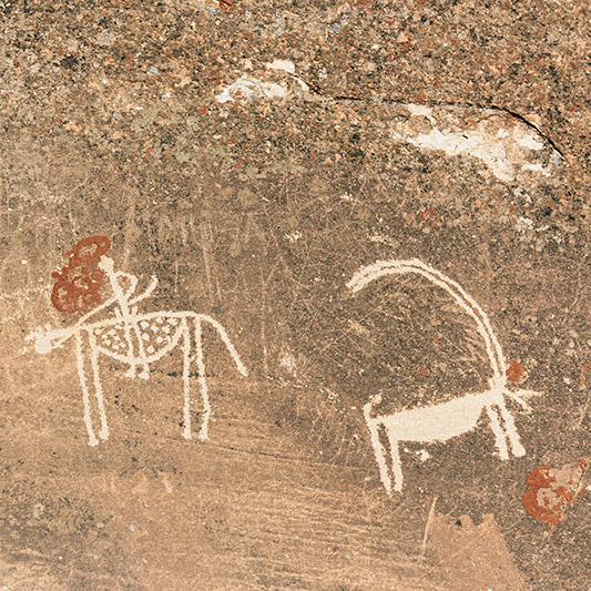 A petroglyph of a Marco Polo sheep on the rocks above Langar in the Wakhan Valley