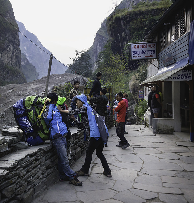 Porters getting ready for the day on Manaslu Circuit Trek