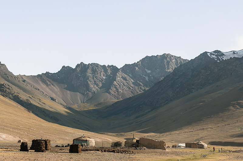 A yurt camp in the Pshart Valley, with Gumbezkol Pass rising behind