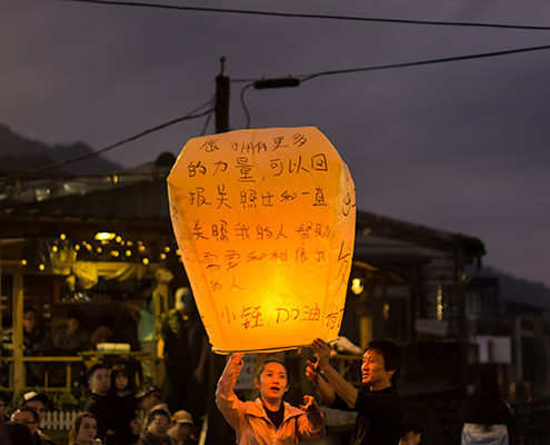 Day Trip From Taipei: Releasing sky lanterns at night at Pingxi, Taiwan