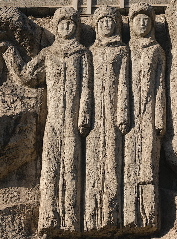 Relief of three women found on the wall of the Kyrgyz Dramatical Theatre in Bishkek