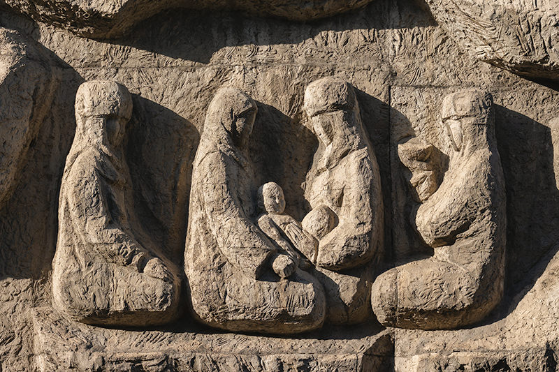 Relief of women and babies found on the wall of the Kyrgyz Dramatical Theatre in Bishkek
