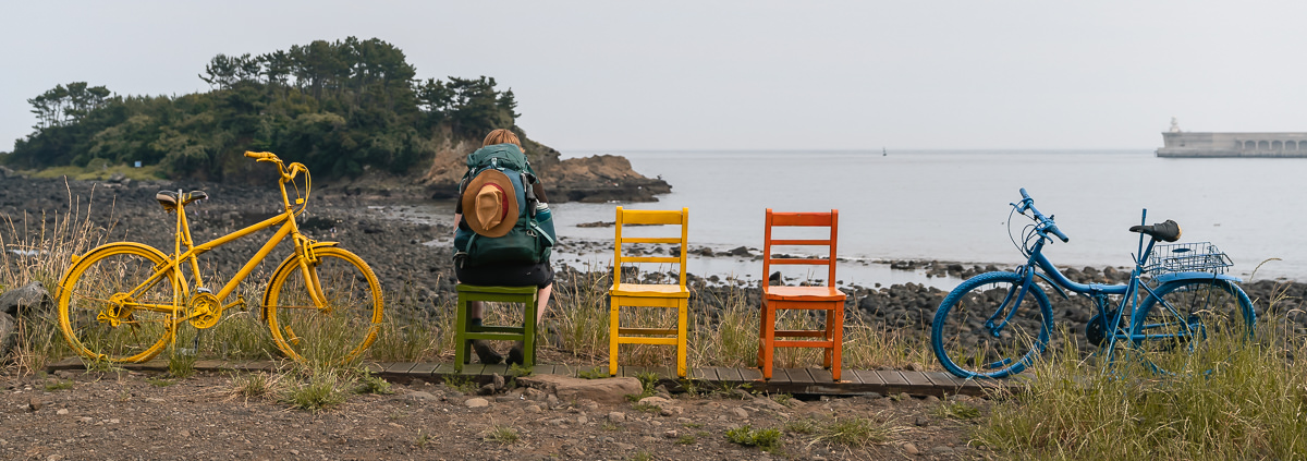 Resting on colourful chairs with a sea view at the mid stamp spot on Olle Trail Route 7