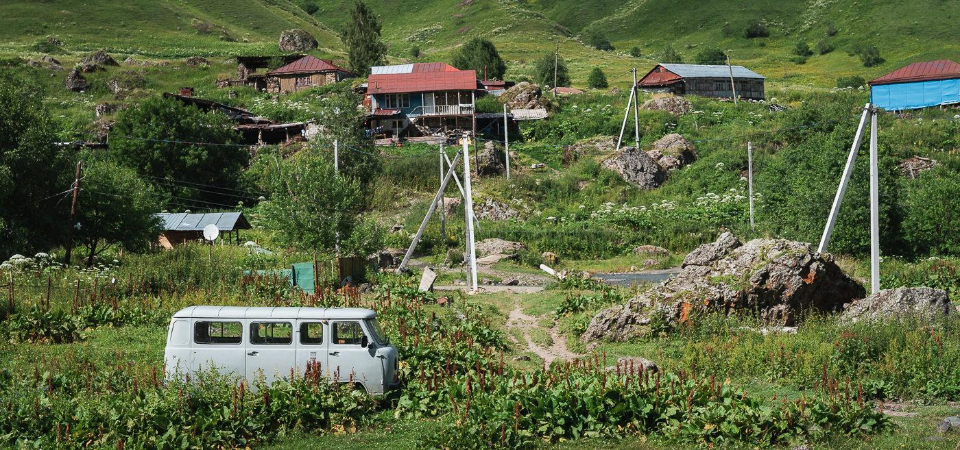 The village of Roshka in Khevsureti, Georgia