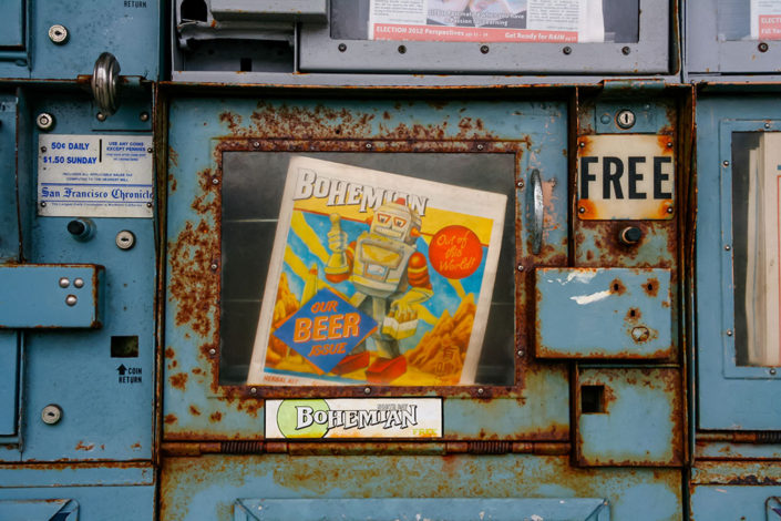 A photographic journey: A rusty old newspaper vending machine, Bodega Bay, California, USA