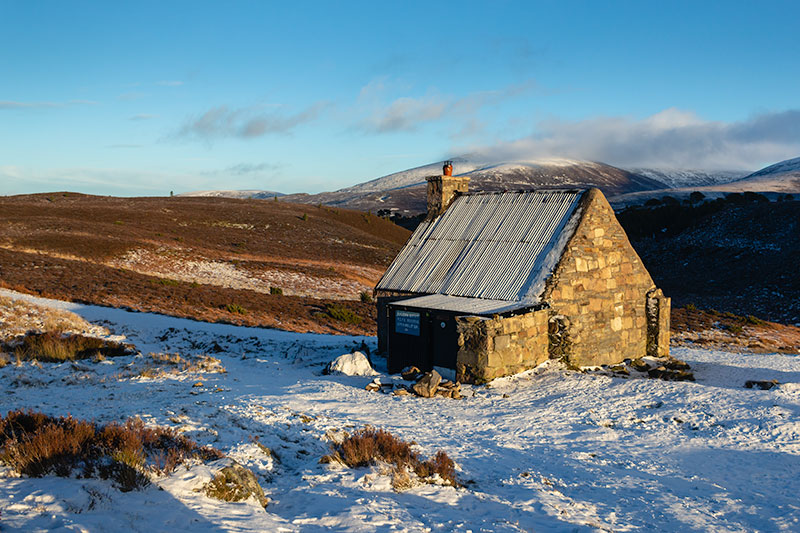 Ryvoan Bothy in the Cairngorms on a cold and snowy January afternoon