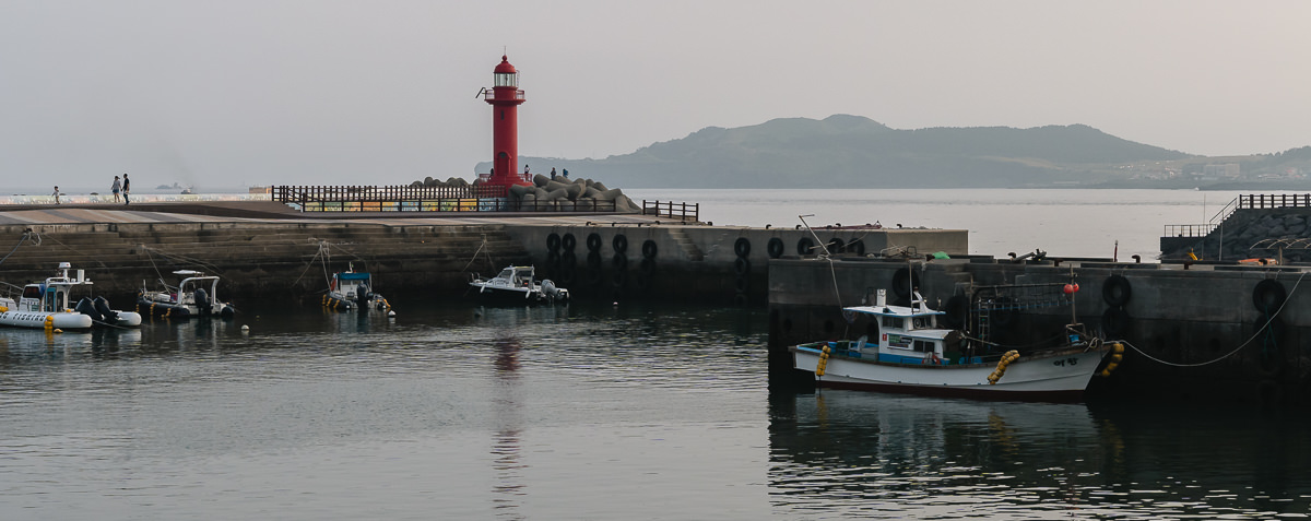 Late afternoon peaceful harbour view at Sagye Port Jeju Olle Trail Route 10