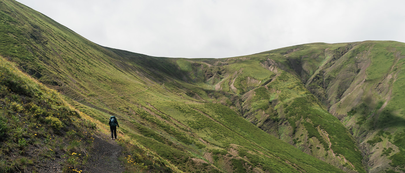 A hiker approaches the final stretch of the climb to Sakorno Pass on Day 3 of the Tusheti Pankisi trek