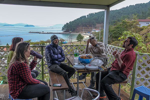Sitting on the balcony at Dandihae Pension, Saryangdo Island, Tongyeong, South Korea