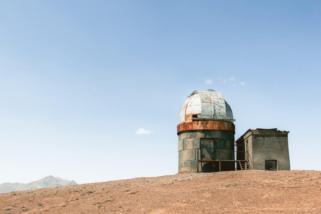 The old Shor-bulak Observatory in eastern Tajikistan. Sitting solitary at 4300 metres, rusty and abandoned, its rounded dome and big metal flaps gave it an alien feel, like some bizarre creature from a 1950's sci-fi movie.