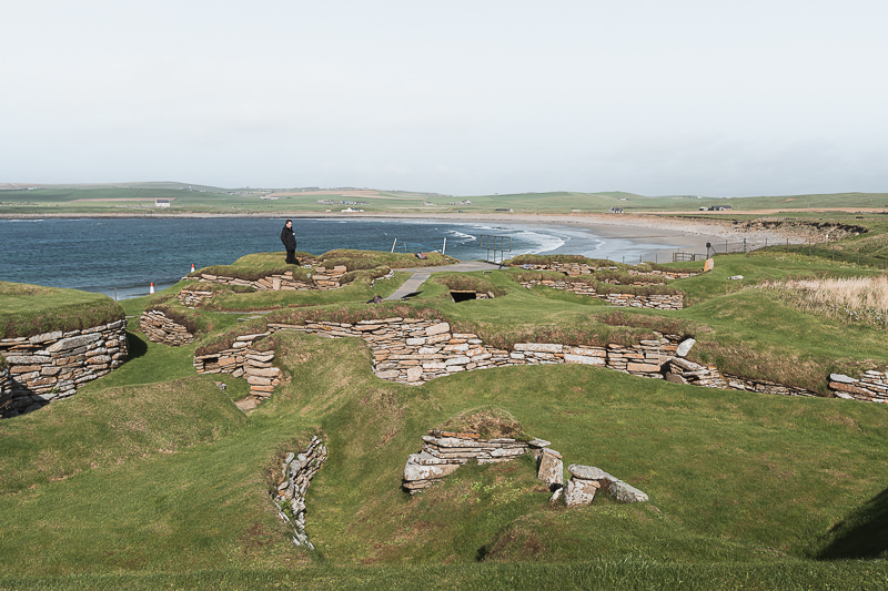 The uncovered Neolithic settlement of Skara Brae, overlooking the windswept Bay of Skaill on Mainland Orkney, Scotland
