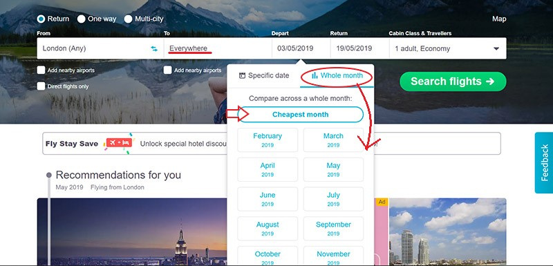 Find cheap flight deals by searching the cheapest month