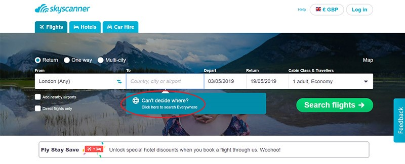 Find the best value flights by searching 'everywhere' on Skyscanner