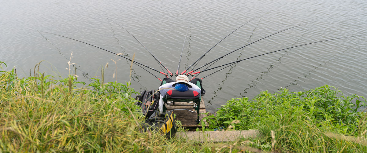 A sleeping fisherman in a chair with an array of six rods on the grassy bank of Yongsu Reservoir on Jeju Island